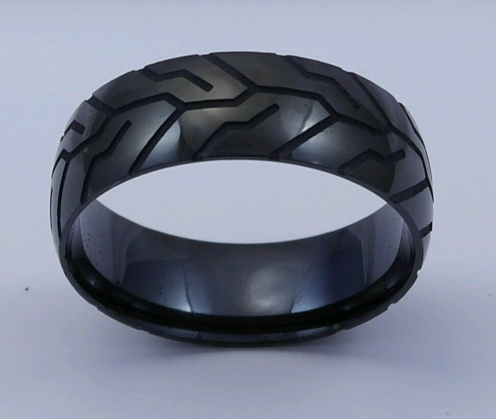 tire tread wedding band Black Motorcycle Tire Tread Ring by Steel Revolt