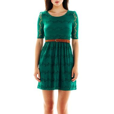 By Amp By Belted Lace Dress Jcpenney Clothes Green Lace