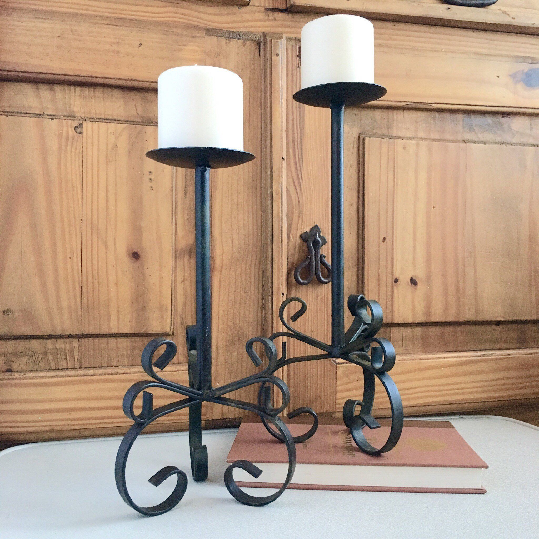 Large Black Wrought Iron Candle Holders Stands Tall Rustic ... on Black Wrought Iron Wall Candle Holders id=94257