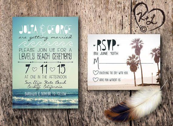 Boho Chic Wedding Invitations: PRINTABLE Bohemian Beach Wedding Invitation Set Boho Chic