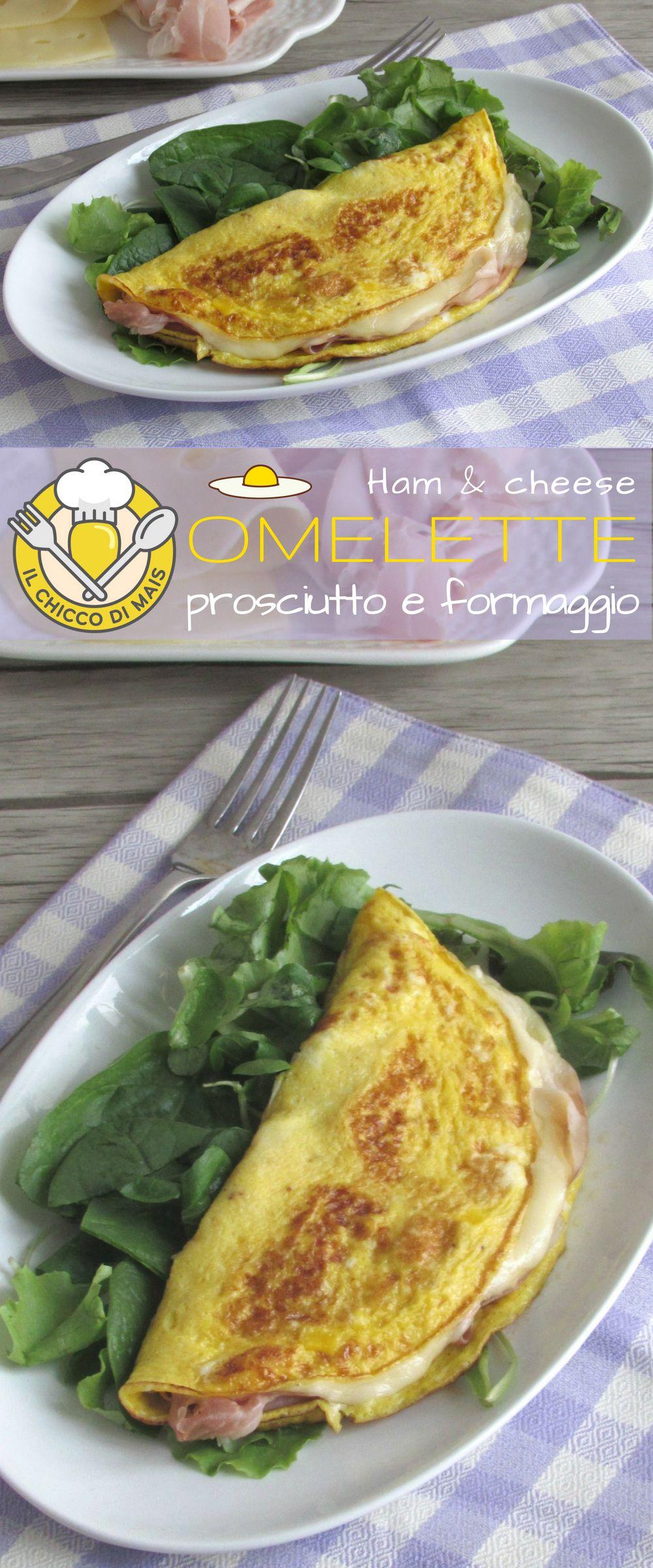 Omelette con prosciutto e formaggio filante secondo