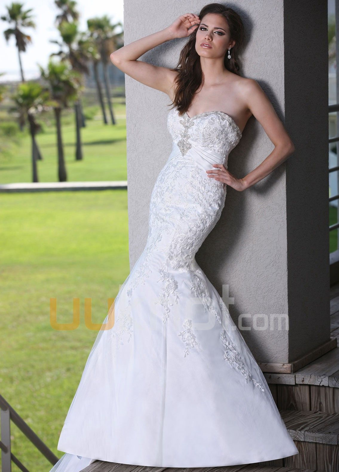 havfrue kjæreste feie tog tyll blonder brudekjole - UUknot.com