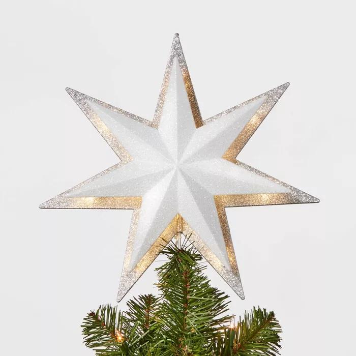 13in 21ct Led Light Glitter Star With Silver Glitter Star Tree Topper Wondershop Christmas Tree Toppers Lighted Star Tree Topper Christmas Tree Star Topper