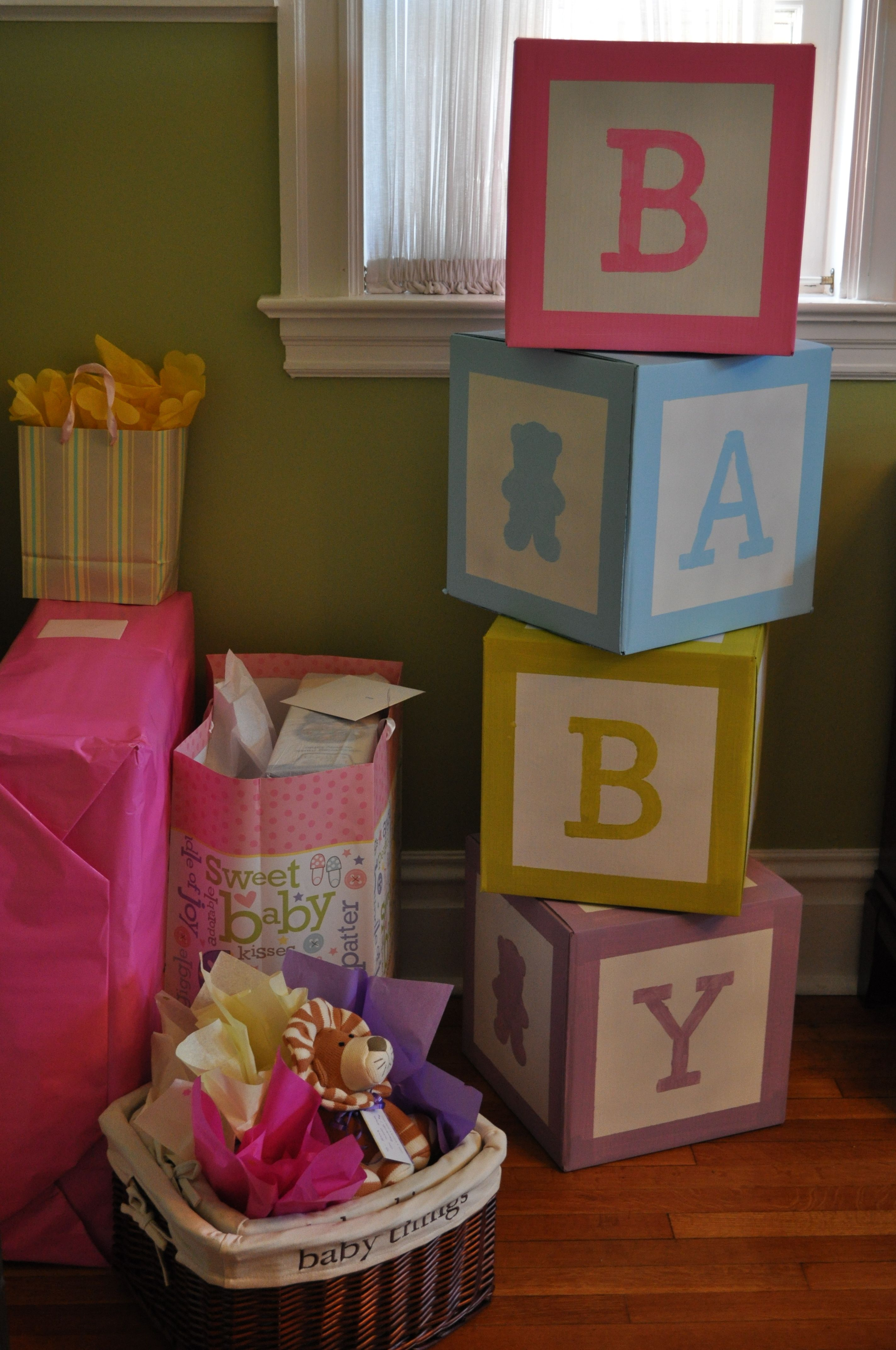 Baby Blocks I Made For A Friends Baby Shower Baby Shower Diy Baby Shower Centerpieces Baby Shower Gifts