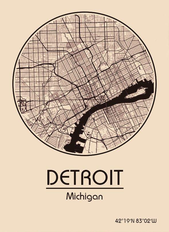 Karte Map Detroit Michigan Vereinigte Staaten Von Amerika