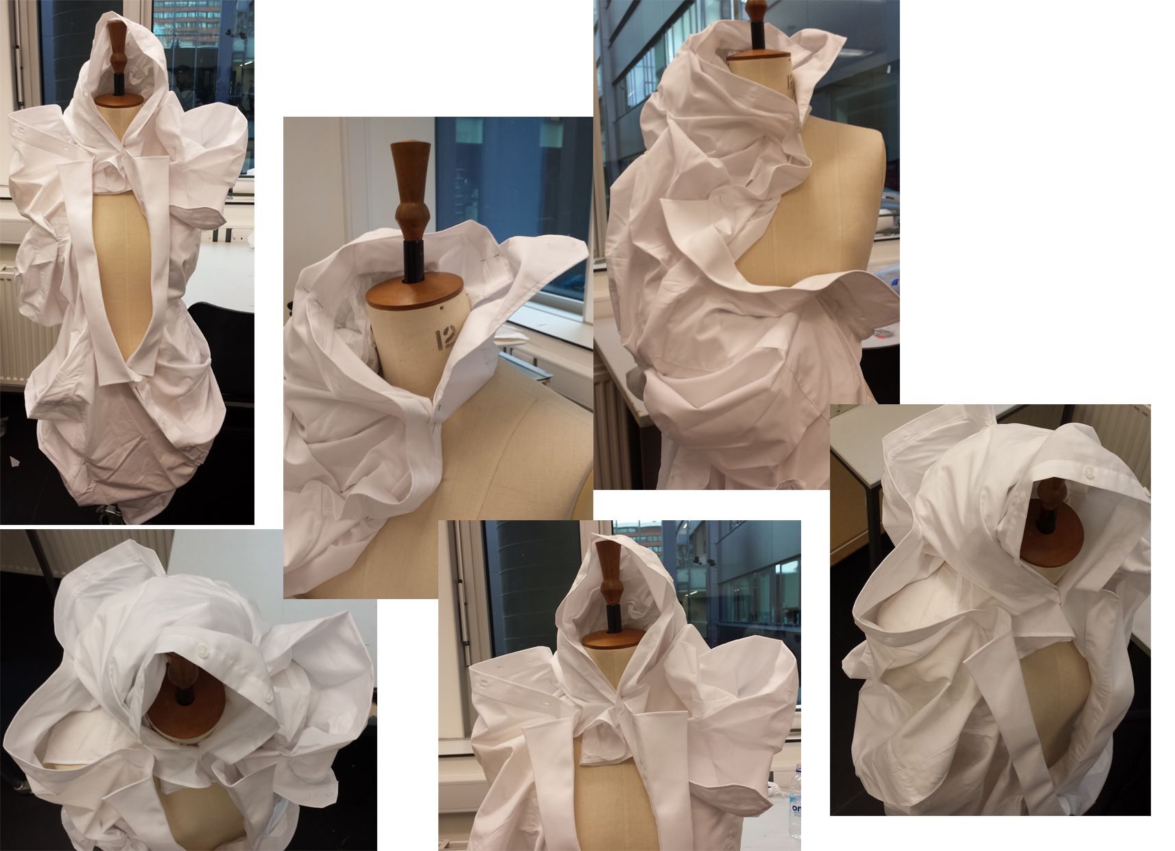 Experimenting with shirts. By taking to large shirts and joining them together in order to create one big piece of fabric it was then used to create shapes and forms on the dummy.