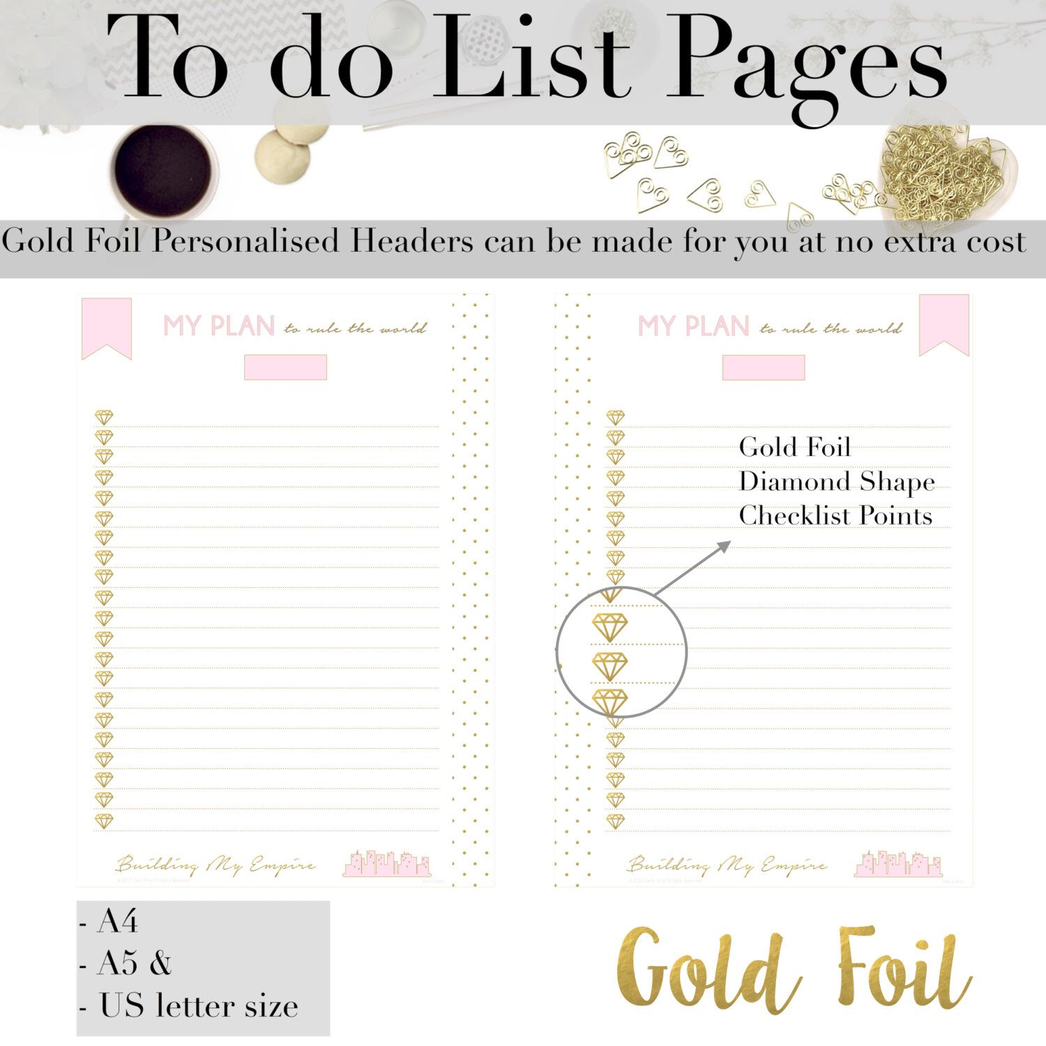 Gold Foil Printable Checklist Planner Page  Day Organiser  To Do