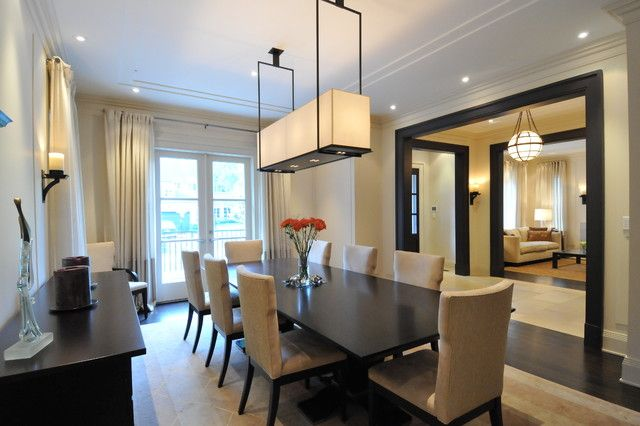simple transitional style formal dining. love the size of the room