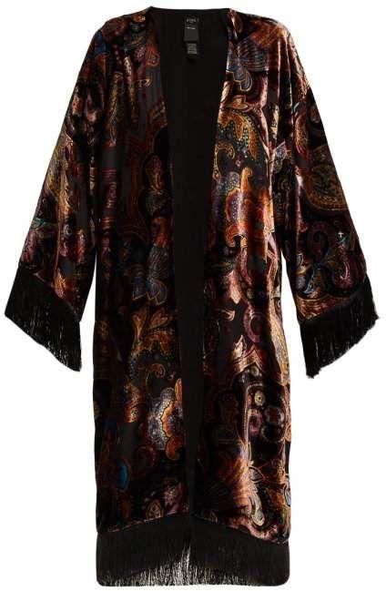 3ff27a55895 Etro Fringed Paisley Velvet Kimono - Womens - Black