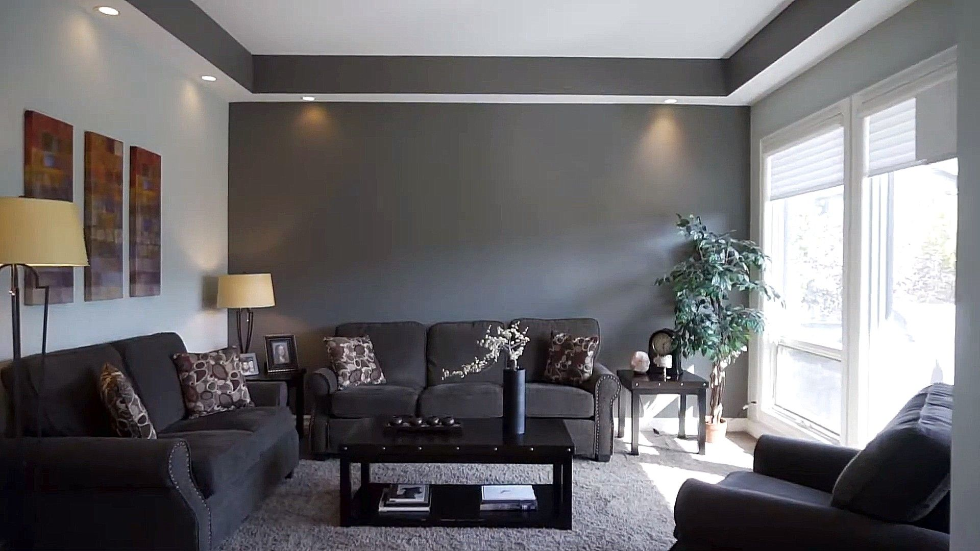 Beautiful Dark Gray And White Interior Wall Colour Combination Wall Color Combination Brown Living Room Decor Interior Wall Colors