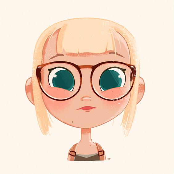 Portrait, Glasses, Digital Painting, Illustration