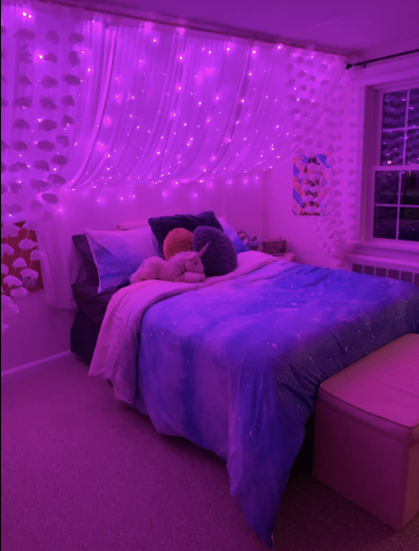 Purple Led Curtain Lights In 2020 Room Ideas Bedroom Neon Room Room Inspiration Bedroom