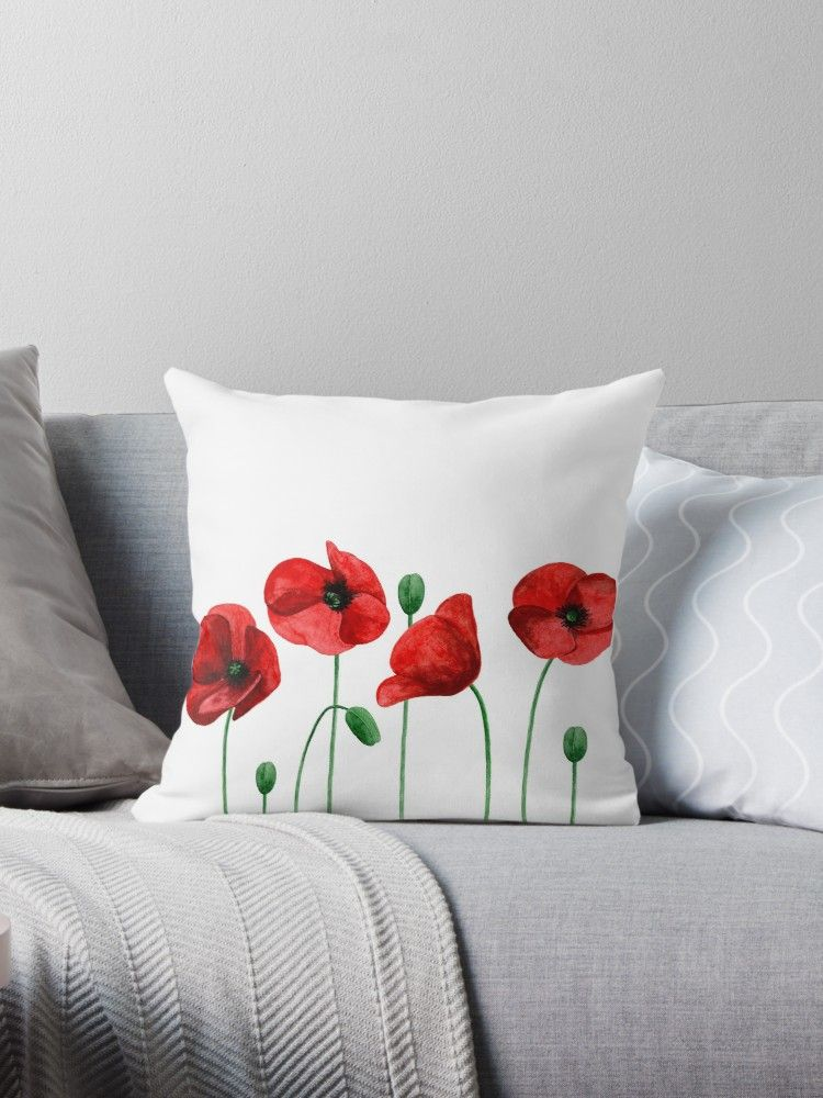 Watercolor Poppies Red Flowers Summer Floral Throw Pillow By Remioni In 2021 Hand Painted Pillows Fabric Paint Designs Fabric Paint Diy