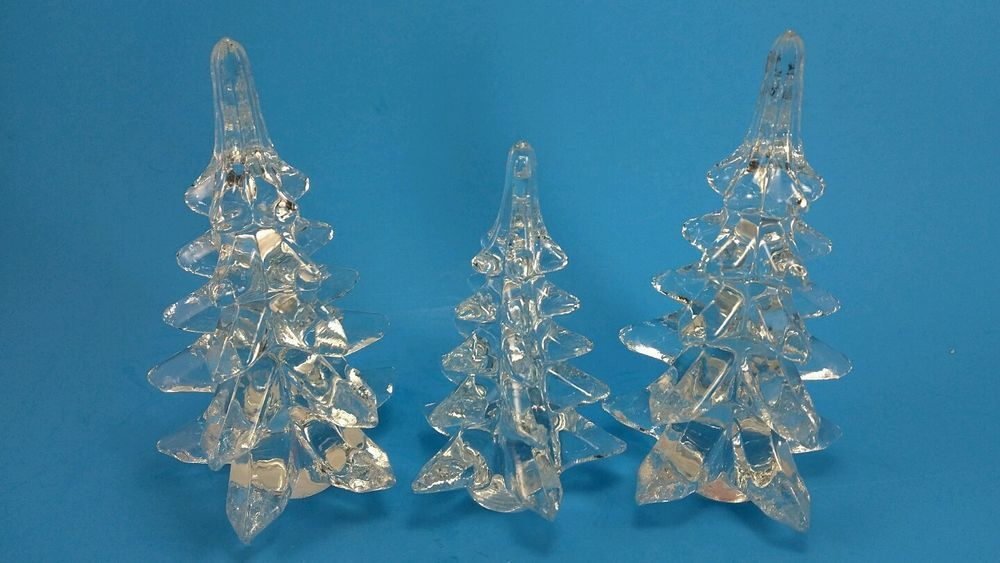 Lillian Vernon Clear Glass Christmas Trees Set Of 3 Cheap