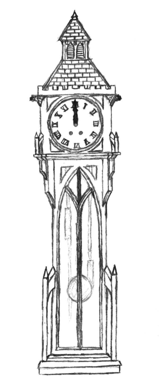 grandfather clock    gothic grandfather clock coloring