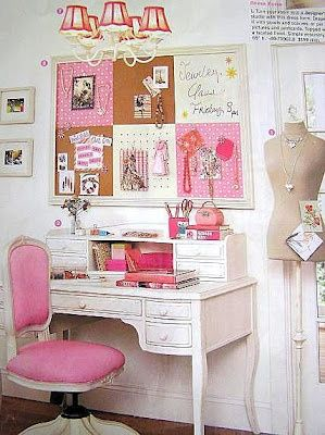 Shabby Chic Office | Girlie or Shabby Chic... love it! | Creative spaces for home office