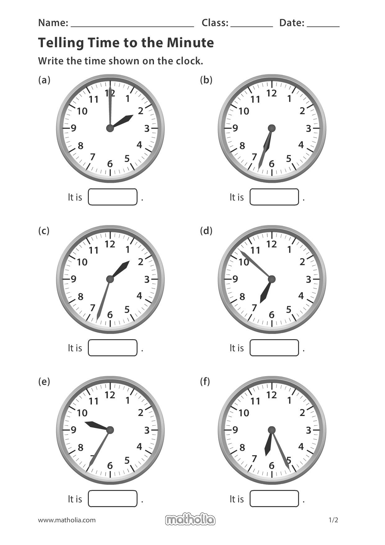 Telling Time To The Minute In