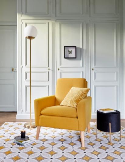 Fauteuil CHILLY tissu jaune Fauteuil BUT | Tissu jaune