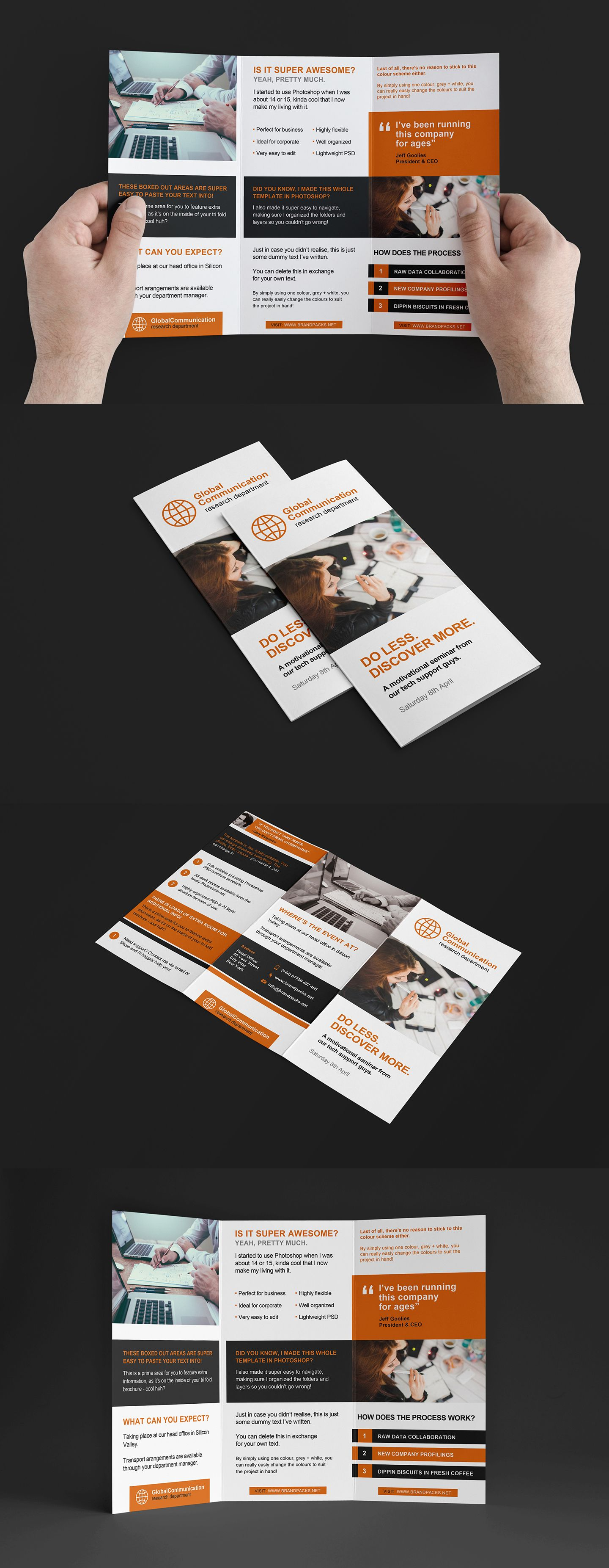 Free Fold Brochure Template In PSD Ai Vector For Photoshop - Photoshop tri fold brochure template free