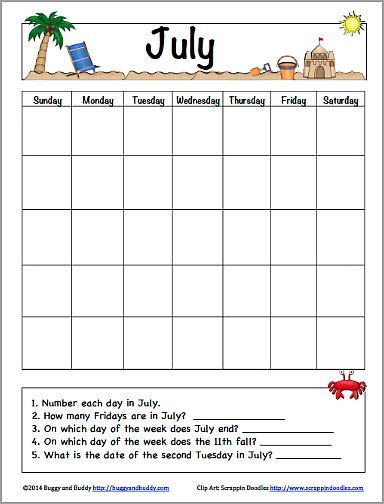 July Calendar For Kids Free Printable  Free Printable Calendar