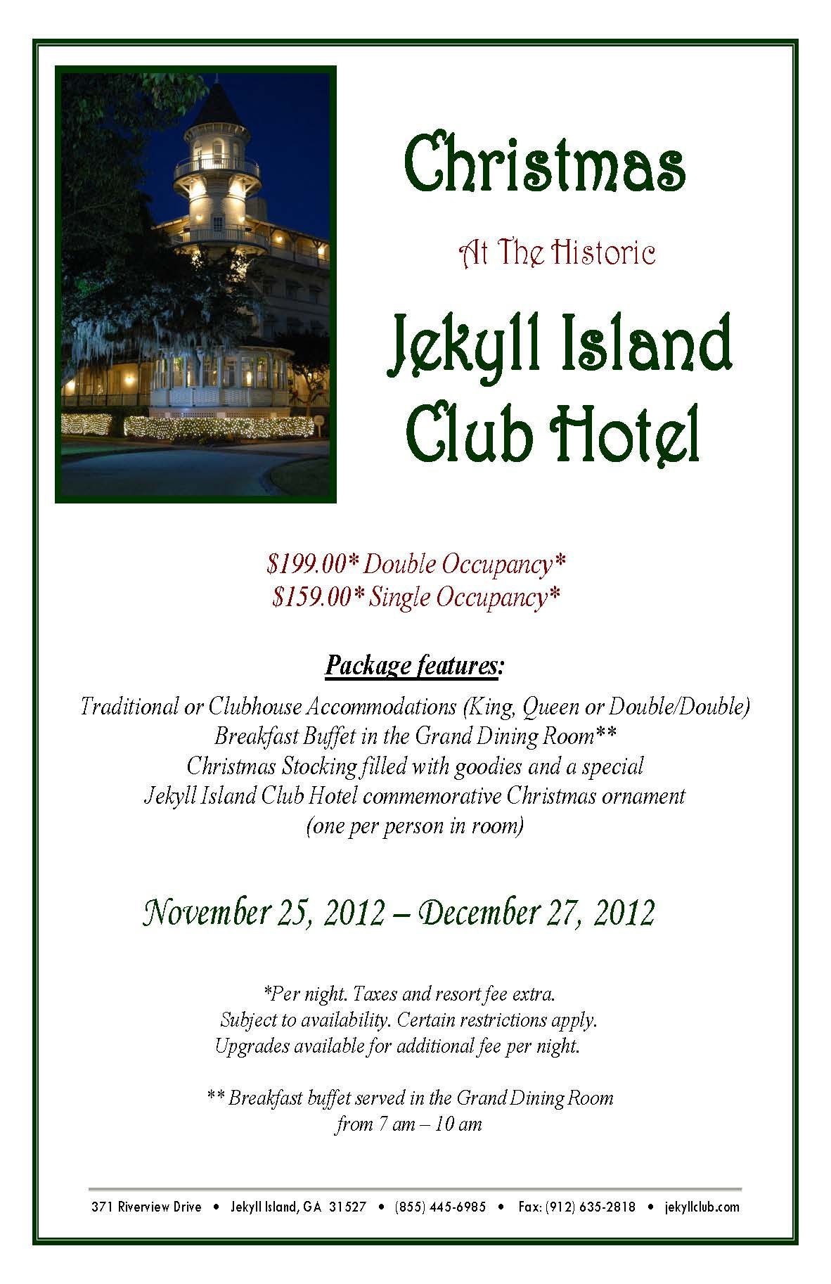 Spend Christmas at the Historic Jekyll Island Club. The Historic District is decorated for the ...