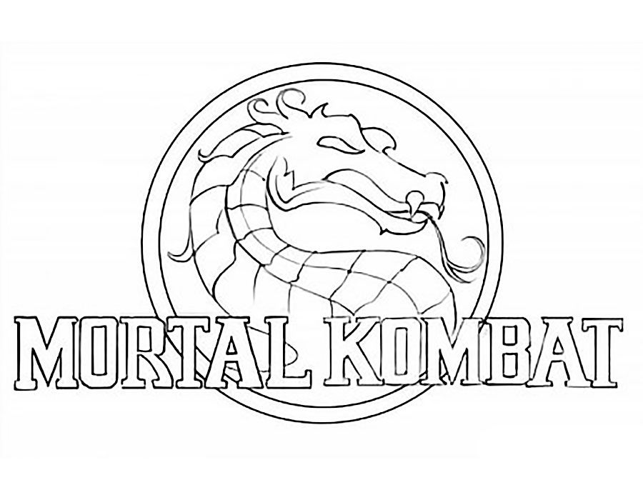 mortal kombat coloring pages logo