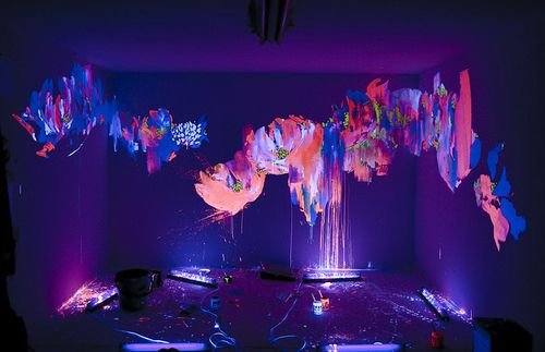 Neon Rave Glow In The Dark Room Glow Paint Blacklight Party Creative