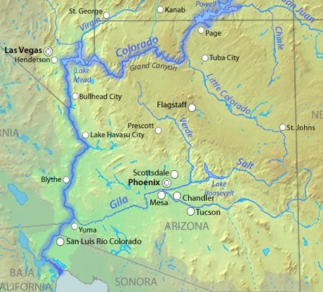 Map Of Lower Colorado River Towns And Lakes SEALIFE ARIZONA - Rivers in colorado map