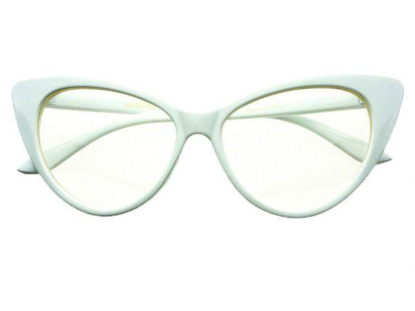 clear lens retro white cat eye glasses frames c106