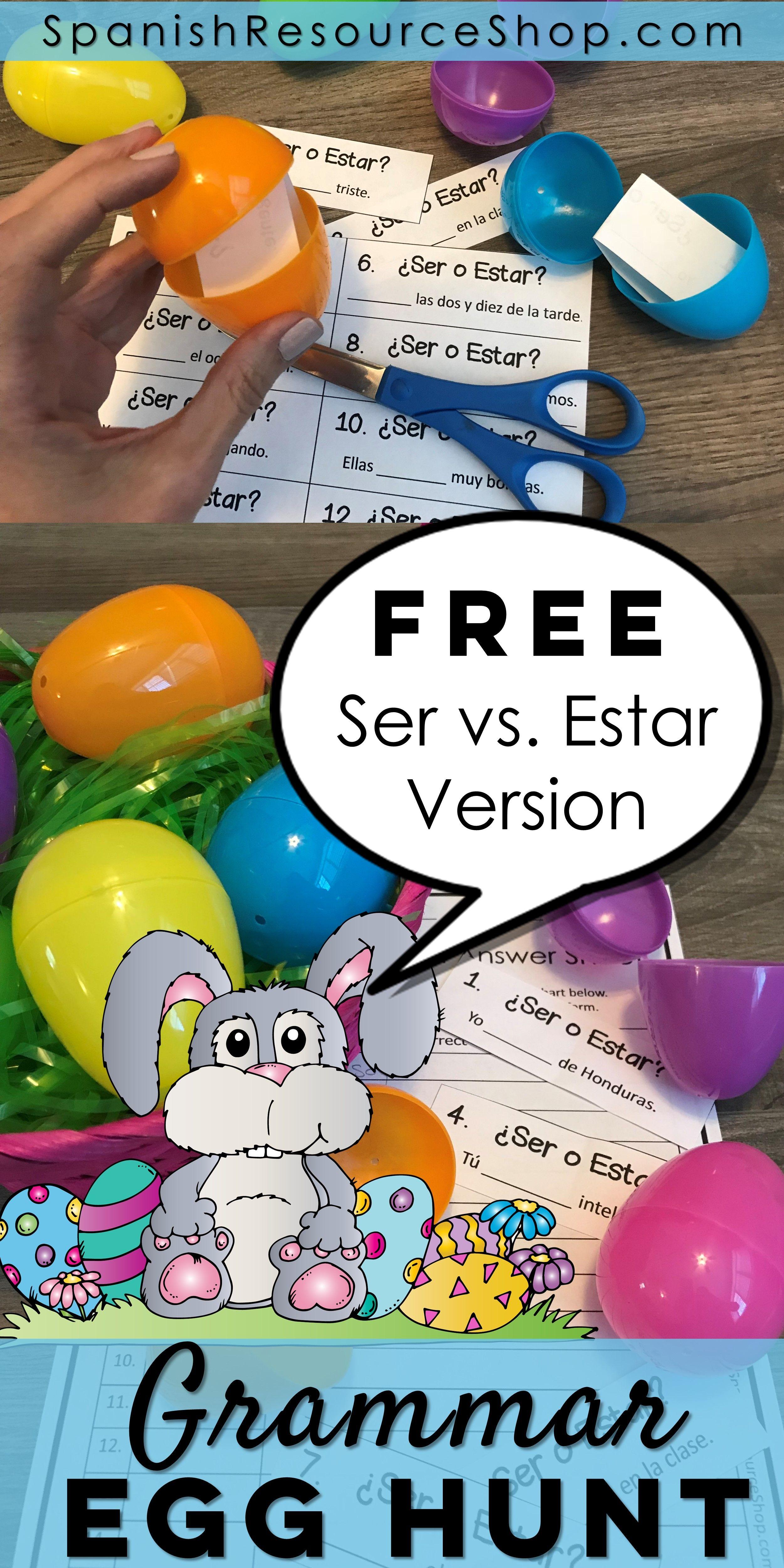 Spanish Easter Grammar Egg Hunt Ser Estar