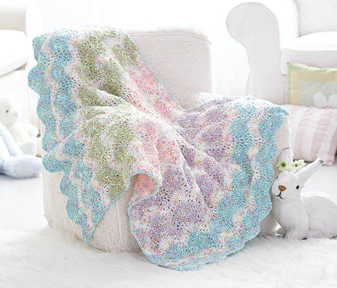 Crochet this chevron baby blanket using Bernat Dippity Dots yarn ...