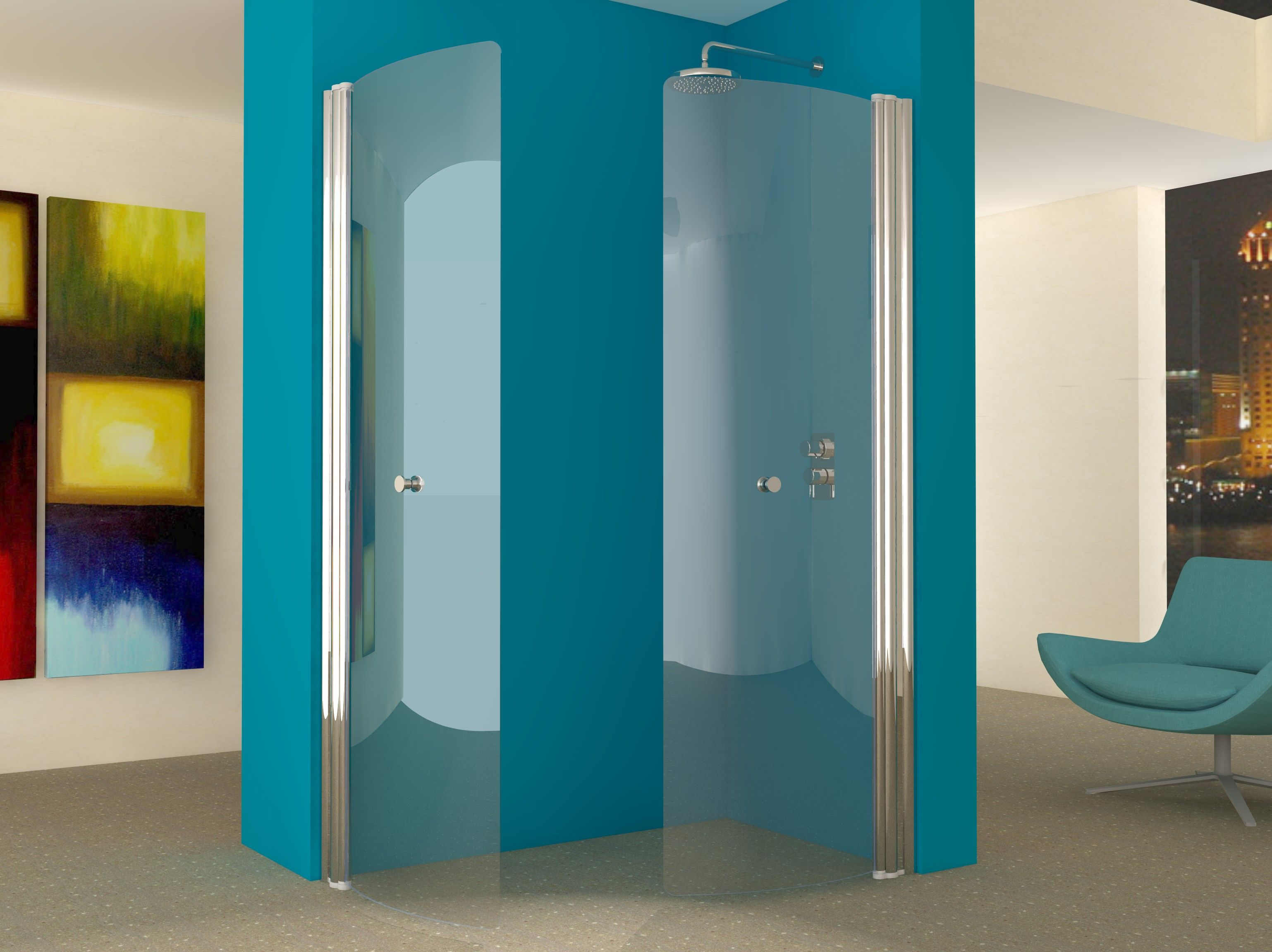 Our hinged wet room screens can be used in pairs to form fold away ...