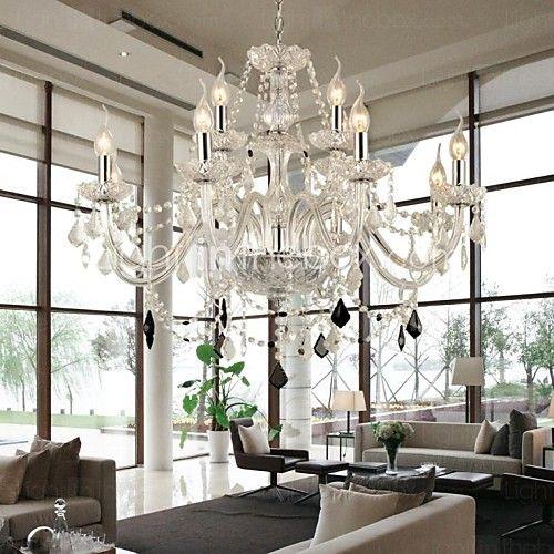Moderno Contemporáneo Cristal Lámparas Araña Luz Ambiente Para Sala