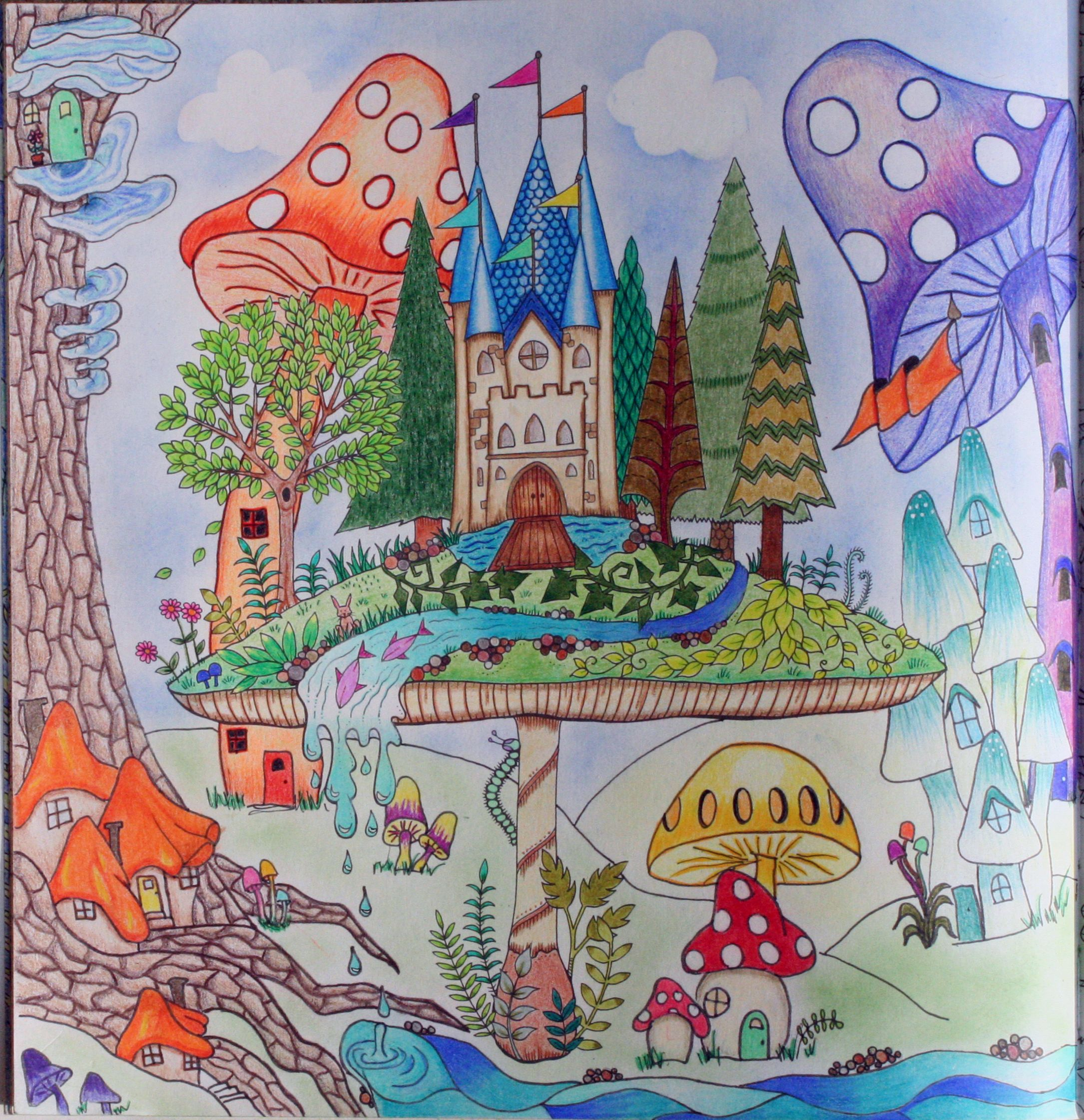 Johanna Basford Coloring Enchanted Forest Mushroom Castle