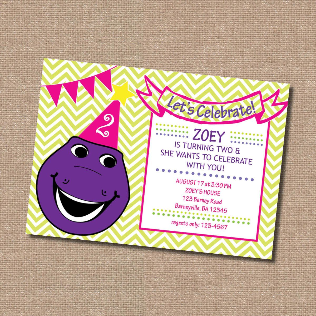 Barney birthday invitation party ideas pinterest barney barney birthday invitation monicamarmolfo Images