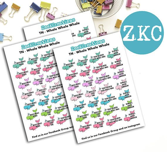 Whale Whale Whale Planner Stickers  Small Planner Stickers
