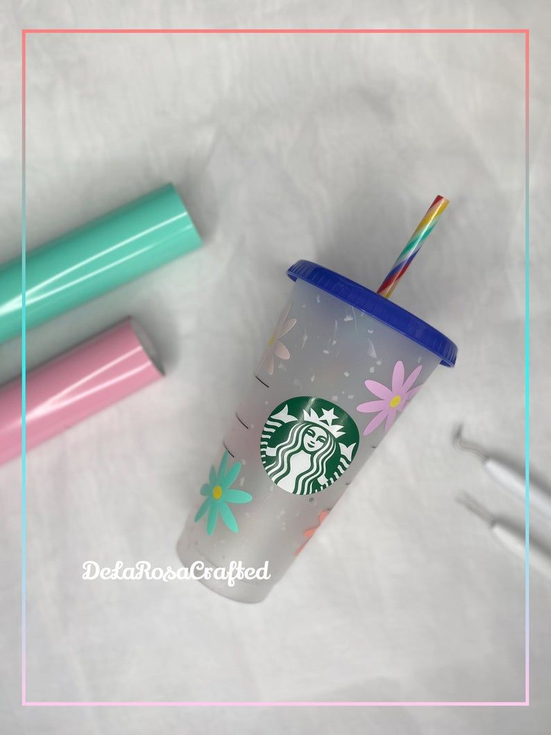 Personalized Starbucks Cup Confetti Starbucks Cup Daisies   Etsy
