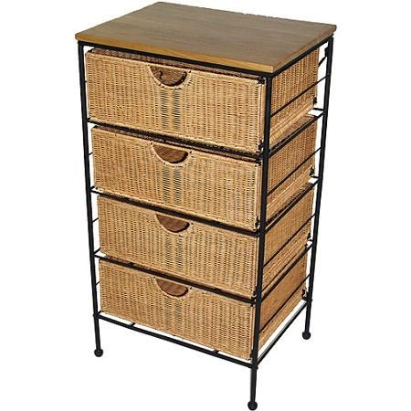 four drawer steel and wicker chest walmart com vintage furniture mahogany dresser with mirror