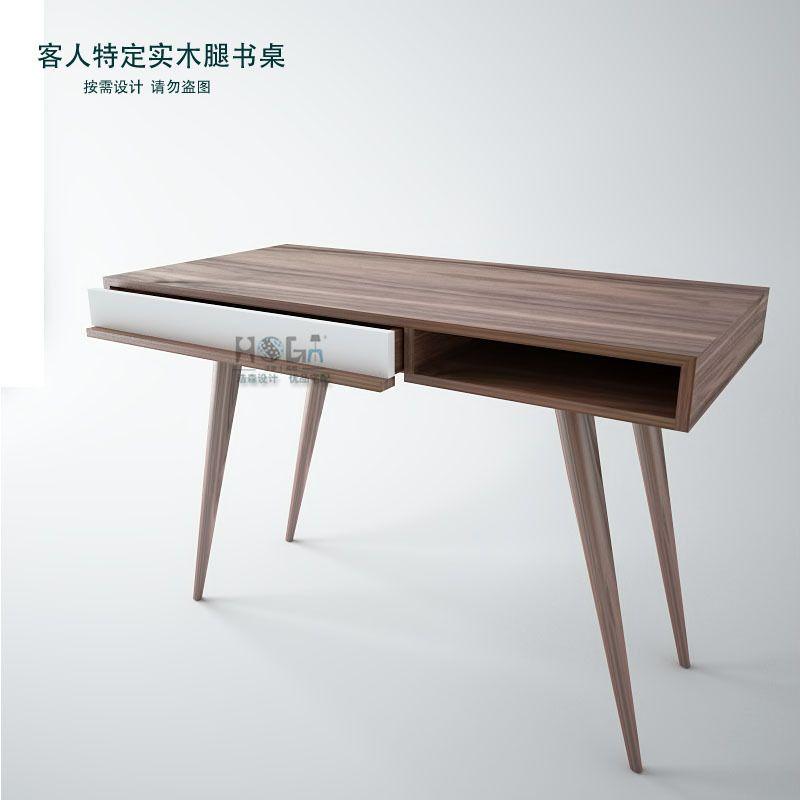 Scandinavian Modern Style Furniture Designer Desk Walnut Wood Veneer Desk  Minimalist Square Feet Of New