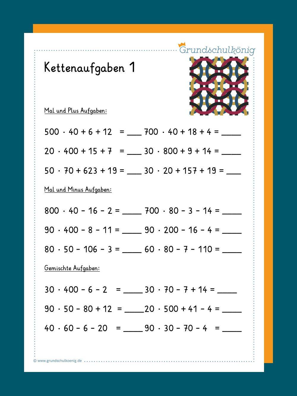 Kostenlose Arbeitsblätter mit Kettenaufgaben für Mathe in der 20 ...