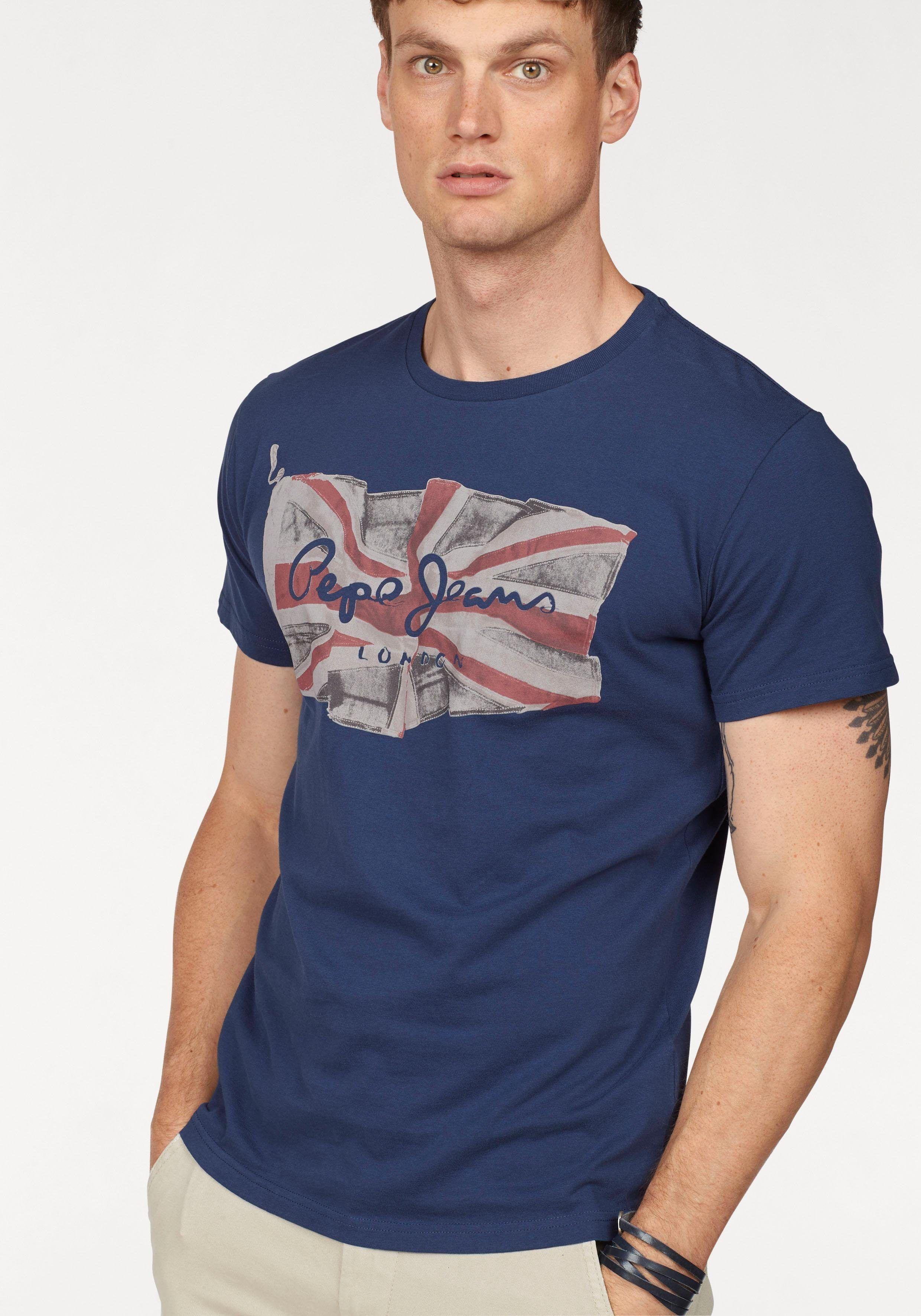 Herren Pepe Jeans T-Shirt FLAG LOGO   08434538602672 - Herren  BekleidungJeansHosenShirtsT-Shirts T 64cb997ca7