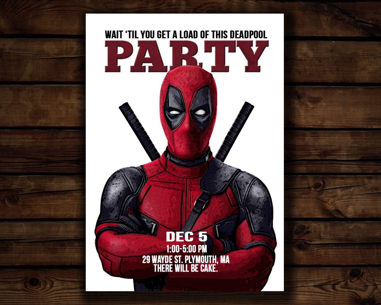 Custom Invitation// Deadpool Movie Poster// Digital File by ...