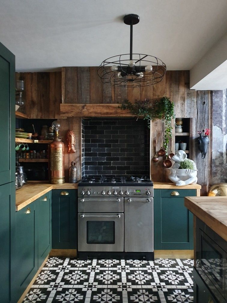 Photo of Green kitchen – Living room dining room …