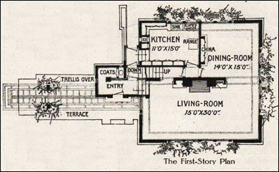 8c91916d26a38c7684699b23736c2698 1907 flw fireproof house home floor plans, exteriors,Small Frank Lloyd Wright House Plans