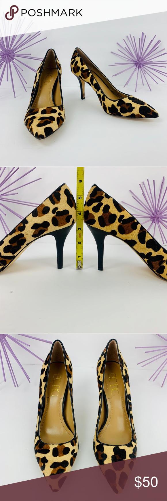 BCBG Paris/Cow Hair Animal Cheetah Cream Tan Black NWOT... BCBG Paris PL-GAMINKA , Cream , Black and Brown animal, cheetah print made with cow hair fur. Man made sole and lining. Smooth black heel.  Size 8 1/2B Heel 3.25 in.  #0706 BCBG Paris Shoes Heels