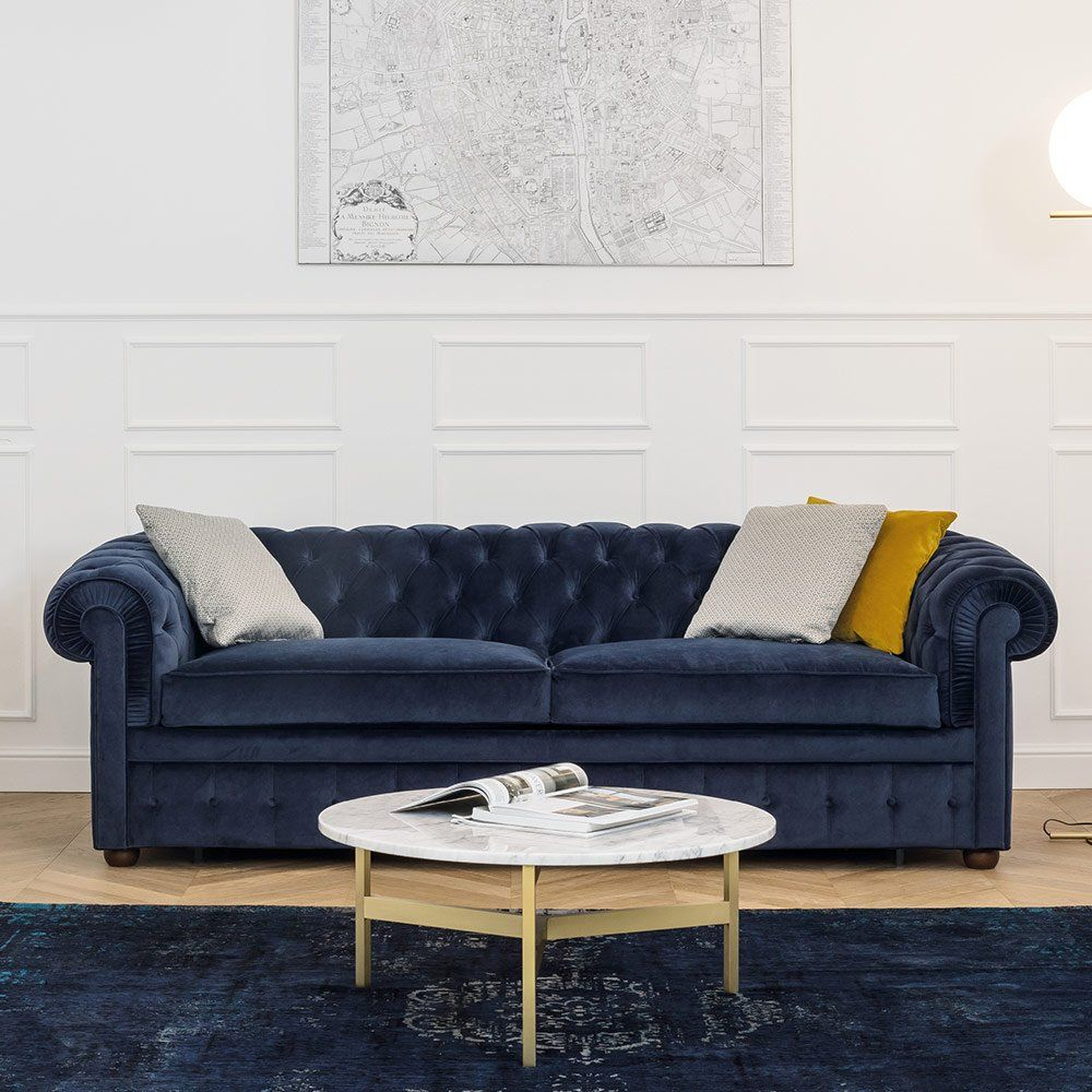 Charmant Un Canapé Chesterfield En Velours Bleu, Convertible Contemporain