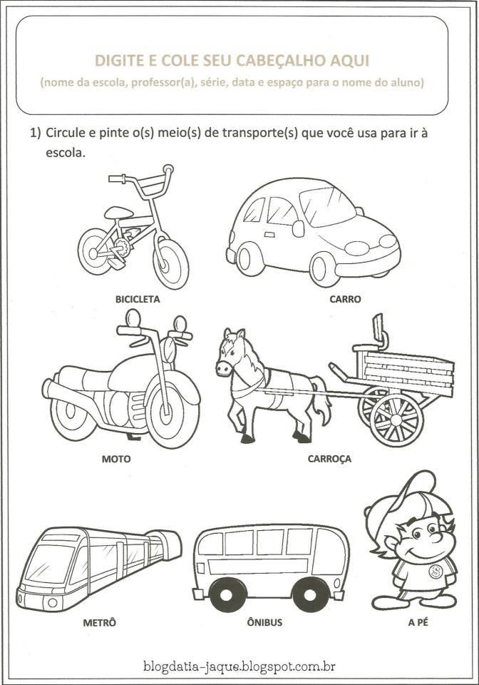 Resultado de imagem para atividades sobre os meios de transportes ...