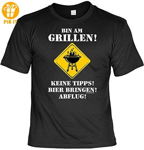 T-Shirt mit Urkunde - Bin am Grillen - Keine Tipps - Bier Bringen - Abflug  - lustiges Sprüche Shirt als Geschenk für Grill Meister mit Humor - NEU mit  ...