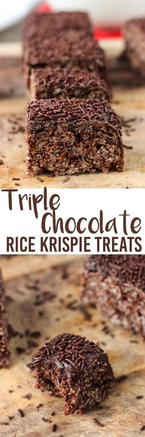 These Triple Chocolate Rice Krispie Treats are a simple, no-bake dessert that can easily be decorated for the holidays! mysequinedlife.com #ricekrispiestreats