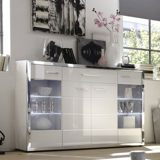 Ego Sideboard In White With High Gloss Fronts And LED